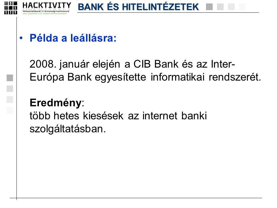 •Példa a leállásra: 2008. január elején a CIB Bank és az Inter- Európa Bank egyesítette informatikai rendszerét. Eredmény: több hetes kiesések az inte