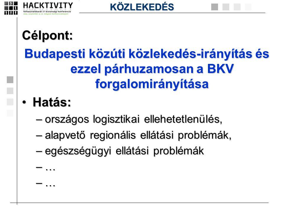 Célpont: Budapesti közúti közlekedés-irányítás és ezzel párhuzamosan a BKV forgalomirányítása •Hatás: –országos logisztikai ellehetetlenülés, –alapvet