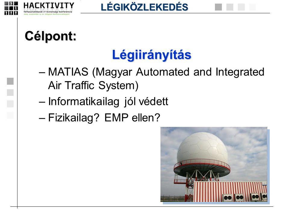 Célpont:Légiirányítás –MATIAS (Magyar Automated and Integrated Air Traffic System) –Informatikailag jól védett –Fizikailag? EMP ellen? LÉGIKÖZLEKEDÉS