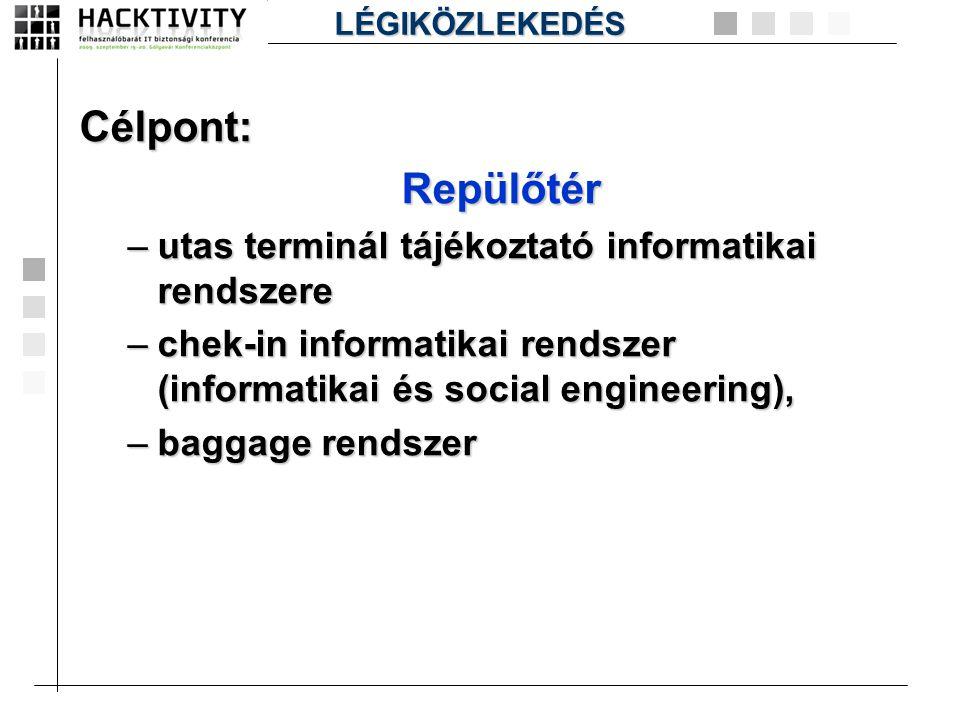 Célpont:Repülőtér –utas terminál tájékoztató informatikai rendszere –chek-in informatikai rendszer (informatikai és social engineering), –baggage rend