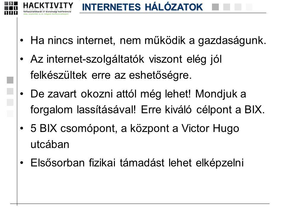 •Ha nincs internet, nem működik a gazdaságunk. •Az internet-szolgáltatók viszont elég jól felkészültek erre az eshetőségre. •De zavart okozni attól mé