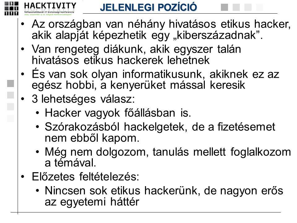 """•Az országban van néhány hivatásos etikus hacker, akik alapját képezhetik egy """"kiberszázadnak"""". •Van rengeteg diákunk, akik egyszer talán hivatásos et"""