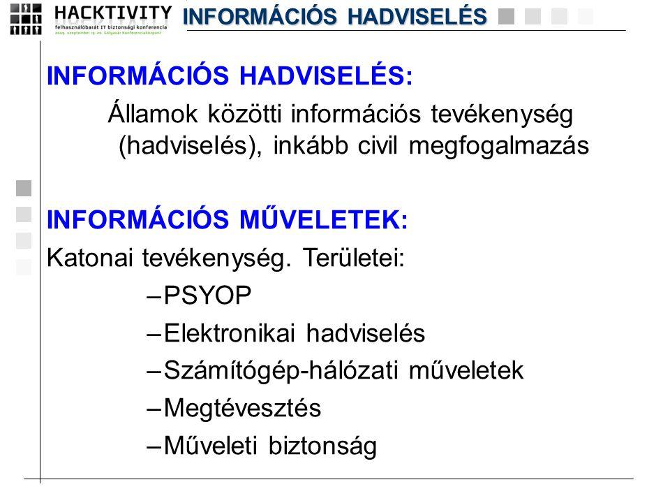 INFORMÁCIÓS HADVISELÉS: Államok közötti információs tevékenység (hadviselés), inkább civil megfogalmazás INFORMÁCIÓS MŰVELETEK: Katonai tevékenység. T