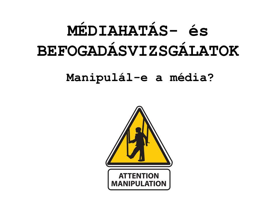 MÉDIAHATÁS- és BEFOGADÁSVIZSGÁLATOK Manipulál-e a média?