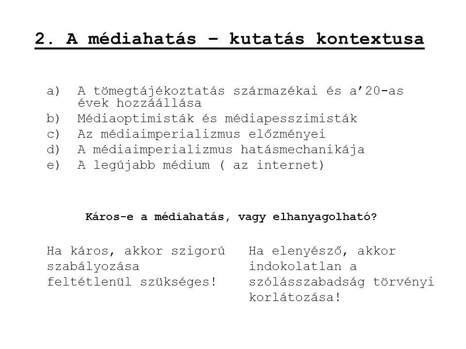 a)A tömegtájékoztatás származékai és a'20-as évek hozzáállása b)Médiaoptimisták és médiapesszimisták c)Az médiaimperializmus előzményei d)A médiaimper