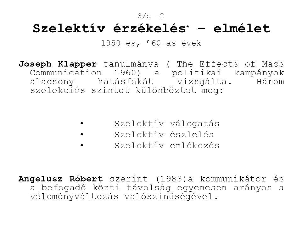 3/c -2 Szelektív érzékelés * – elmélet 1950-es, '60-as évek Joseph Klapper tanulmánya ( The Effects of Mass Communication 1960) a politikai kampányok
