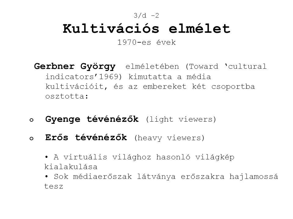 Gerbner György elméletében (Toward 'cultural indicators'1969) kimutatta a média kultivációit, és az embereket két csoportba osztotta: 3/d -2 Kultiváci
