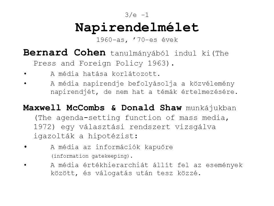 3/e -1 Napirendelmélet 1960-as, '70-es évek Bernard Cohen tanulmányából indul ki(The Press and Foreign Policy 1963). •A média hatása korlátozott. •A m