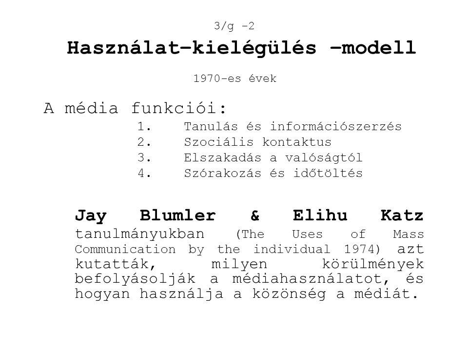 A média funkciói: 1. Tanulás és információszerzés 2. Szociális kontaktus 3. Elszakadás a valóságtól 4. Szórakozás és időtöltés Jay Blumler & Elihu Kat