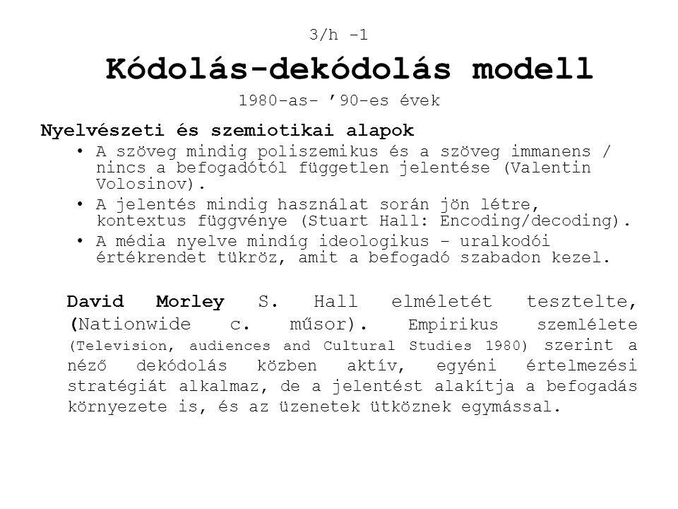 3/h -1 Kódolás-dekódolás modell 1980-as- '90-es évek Nyelvészeti és szemiotikai alapok •A szöveg mindig poliszemikus és a szöveg immanens / nincs a be