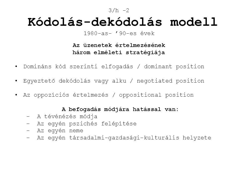 3/h -2 Kódolás-dekódolás modell 1980-as- '90-es évek Az üzenetek értelmezésének három elméleti stratégiája •Domináns kód szerinti elfogadás / dominant