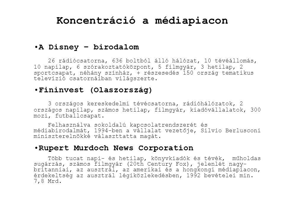 Koncentráció a médiapiacon •A Disney – birodalom 26 rádiócsatorna, 636 boltból álló hálózat, 10 tévéállomás, 10 napilap, 6 szórakoztatóközpont, 5 film
