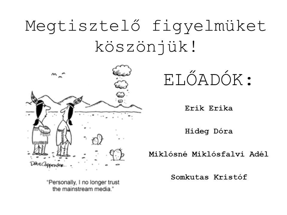 ELŐADÓK: Erik Erika Hideg Dóra Miklósné Miklósfalvi Adél Somkutas Kristóf Megtisztelő figyelmüket köszönjük!
