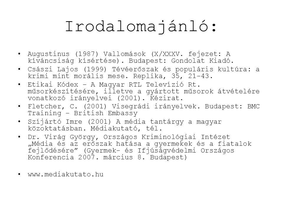 •Augustinus (1987) Vallomások (X/XXXV. fejezet: A kíváncsiság kísértése). Budapest: Gondolat Kiadó. •Császi Lajos (1999) Tévéerőszak és populáris kult