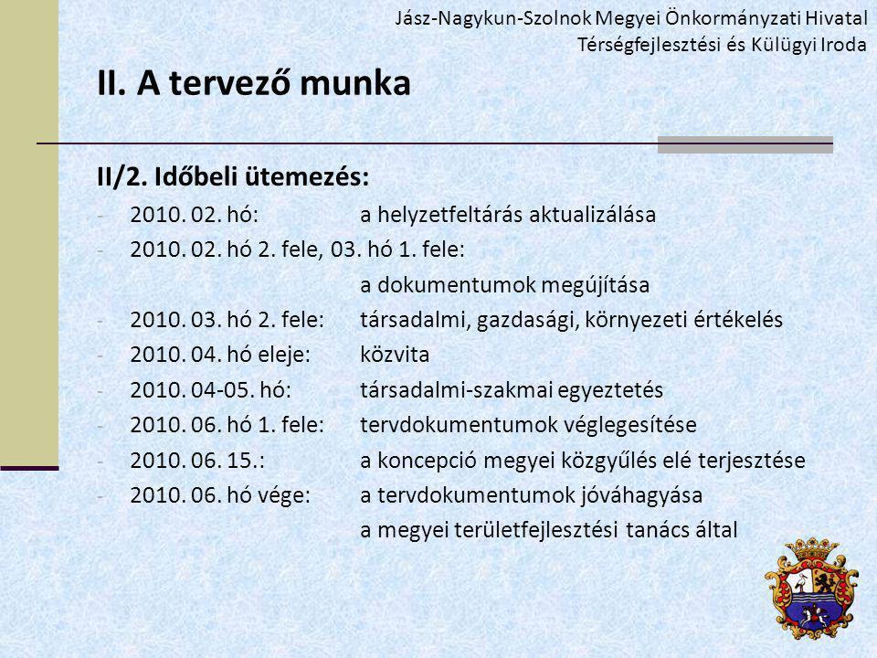 II. A tervező munka II/2. Időbeli ütemezés: - 2010.