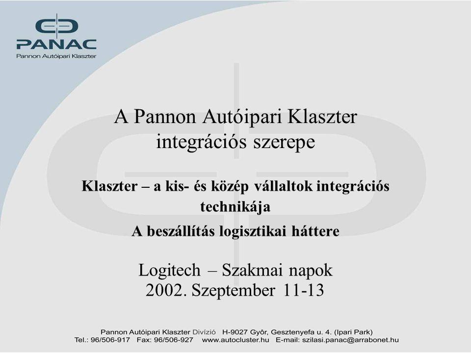 A Pannon Autóipari Klaszter integrációs szerepe Klaszter – a kis- és közép vállaltok integrációs technikája A beszállítás logisztikai háttere Logitech