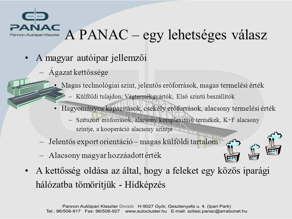 4 A PANAC – egy lehetséges válasz •A magyar autóipar jellemzői –Ágazat kettőssége •Magas technológiai szint, jelentős erőforrások, magas termelési ért