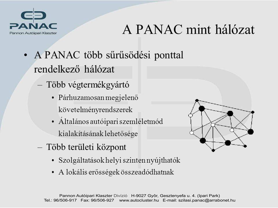7 A PANAC mint hálózat •A PANAC több sűrűsödési ponttal rendelkező hálózat –Több végtermékgyártó •Párhuzamosan megjelenő követelményrendszerek •Általá