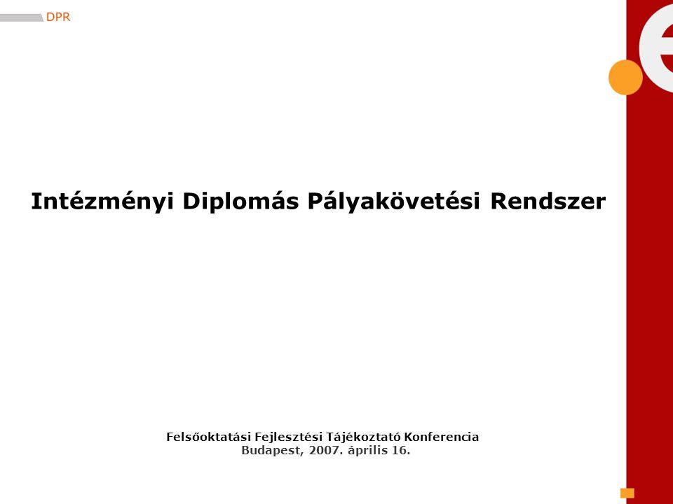 Felsőoktatási Fejlesztési Tájékoztató Konferencia Budapest, 2007. április 16. Intézményi Diplomás Pályakövetési Rendszer