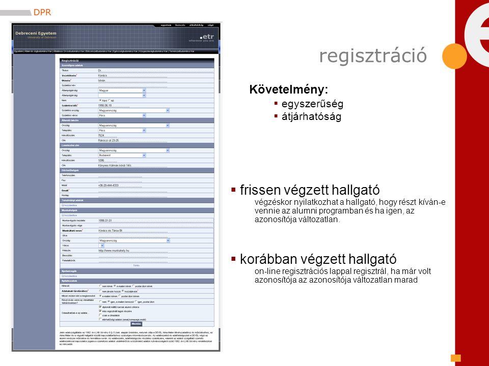 regisztráció Követelmény:  egyszerűség  átjárhatóság  frissen végzett hallgató végzéskor nyilatkozhat a hallgató, hogy részt kíván-e vennie az alumni programban és ha igen, az azonosítója változatlan.