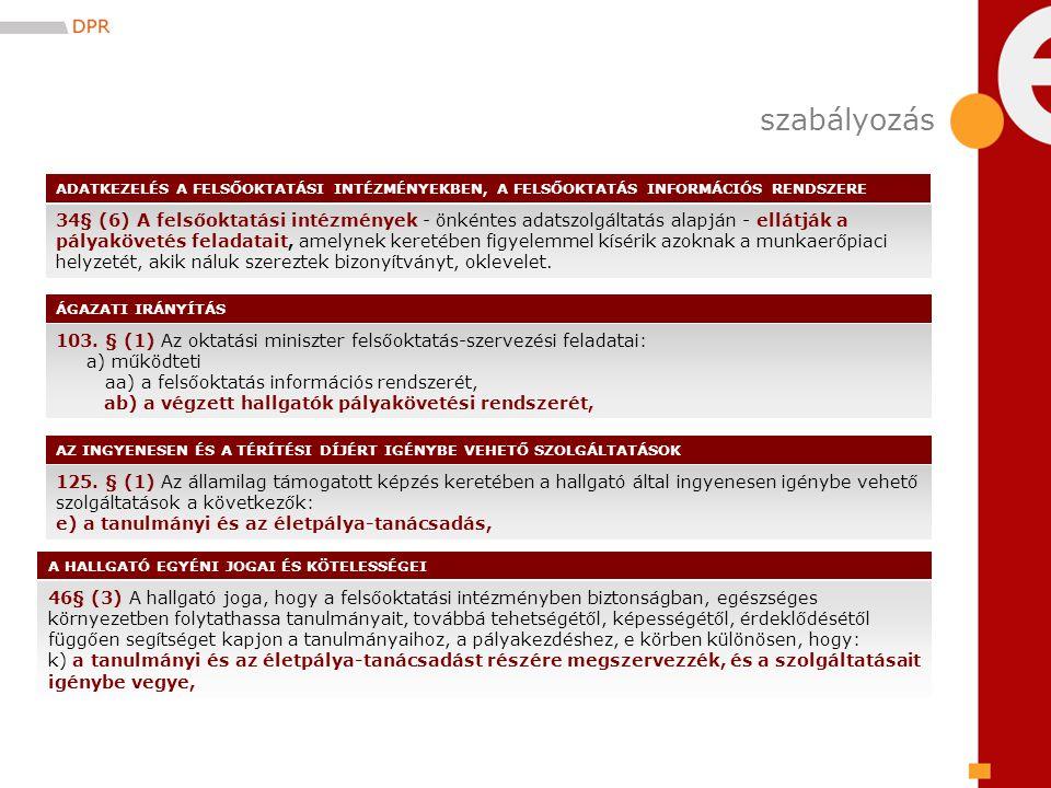 103. § (1) Az oktatási miniszter felsőoktatás-szervezési feladatai: a) működteti aa) a felsőoktatás információs rendszerét, ab) a végzett hallgatók pá