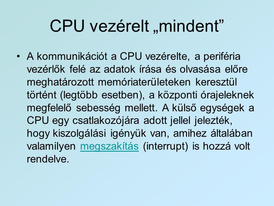 """CPU vezérelt """"mindent"""" •A kommunikációt a CPU vezérelte, a periféria vezérlők felé az adatok írása és olvasása előre meghatározott memóriaterületeken"""