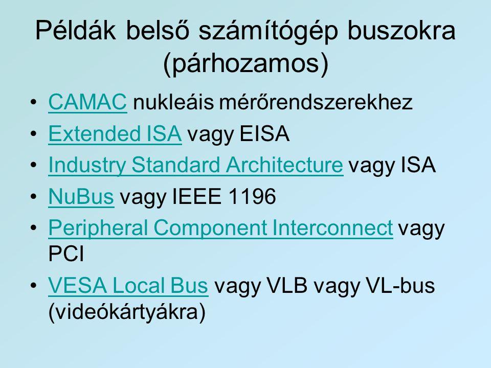 Példák belső számítógép buszokra (párhozamos) •CAMAC nukleáis mérőrendszerekhezCAMAC •Extended ISA vagy EISAExtended ISA •Industry Standard Architectu