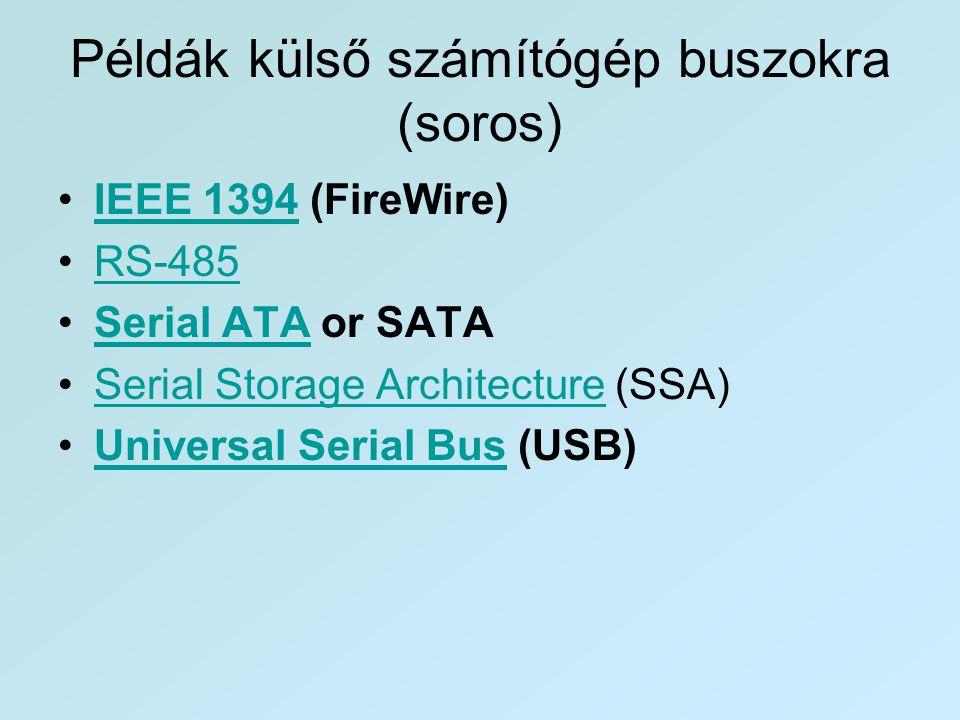 Példák külső számítógép buszokra (soros) •IEEE 1394 (FireWire)IEEE 1394 •RS-485RS-485 •Serial ATA or SATASerial ATA •Serial Storage Architecture (SSA)