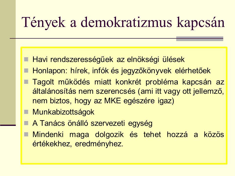 Tények a demokratizmus kapcsán  Havi rendszerességűek az elnökségi ülések  Honlapon: hírek, infók és jegyzőkönyvek elérhetőek  Tagolt működés miatt konkrét probléma kapcsán az általánosítás nem szerencsés (ami itt vagy ott jellemző, nem biztos, hogy az MKE egészére igaz)  Munkabizottságok  A Tanács önálló szervezeti egység  Mindenki maga dolgozik és tehet hozzá a közös értékekhez, eredményhez.