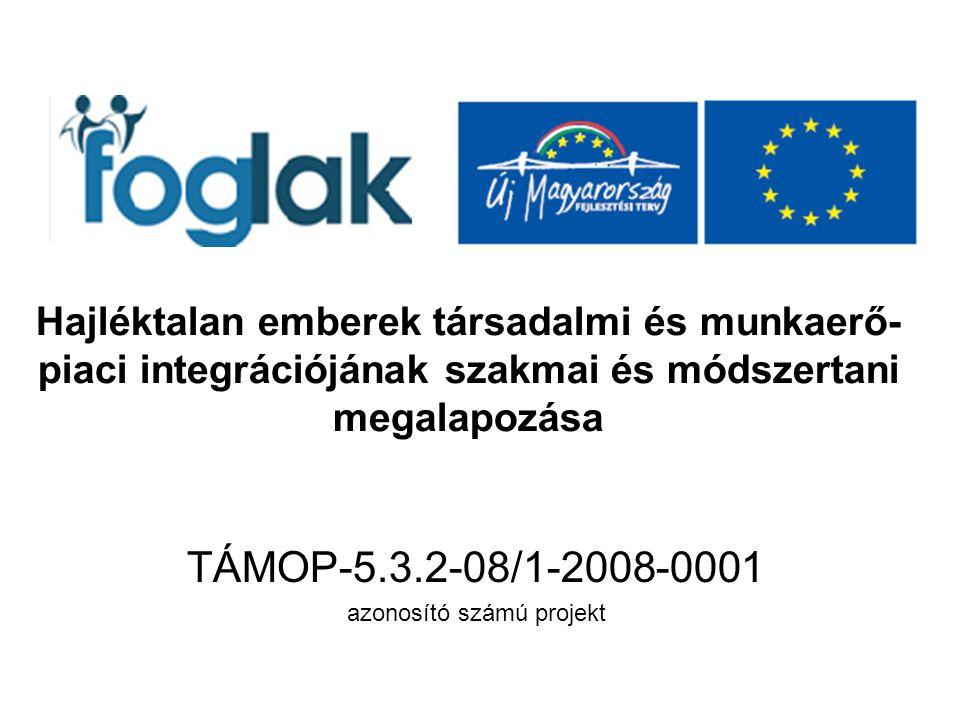 Hajléktalan emberek társadalmi és munkaerő- piaci integrációjának szakmai és módszertani megalapozása TÁMOP-5.3.2-08/1-2008-0001 azonosító számú projekt