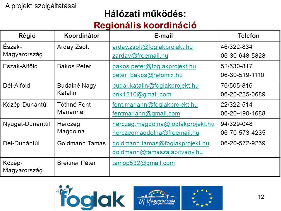 12 Hálózati működés: Regionális koordináció A projekt szolgáltatásai RégióKoordinátorE-mailTelefon Észak- Magyarország Arday Zsoltarday.zsolt@foglakprojekt.hu zarday@freemail.hu 46/322-834 06-30-648-5828 Észak-AlföldBakos Péterbakos.peter@foglakprojekt.hu peter_bakos@refomix.hu 52/530-817 06-30-519-1110 Dél-AlföldBudainé Nagy Katalin budai.katalin@foglakprojekt.hu bnk1210@gmail.com 76/505-816 06-20-235-0689 Közép-DunántúlTóthné Fent Marianne fent.mariann@foglakprojekt.hu fentmariann@gmail.com 22/322-514 06-20-490-4688 Nyugat-DunántúlHerczeg Magdolna herczeg.magdolna@foglakprojekt.hu herczegmagdolna@freemail.hu 94/329-048 06-70-573-4235 Dél-DunántúlGoldmann Tamásgoldmann.tamas@foglakprojekt.hu goldmann@tamaszalapitvany.hu 06-20-572-9259 Közép- Magyarország Breitner Pétertamop532@gmail.com