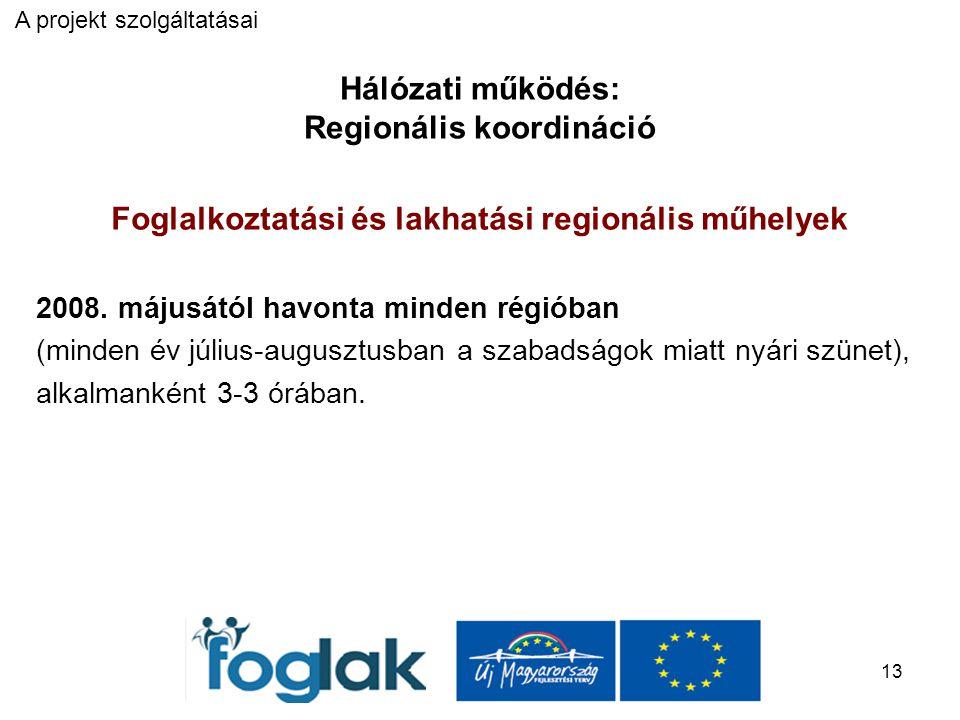 13 Hálózati működés: Regionális koordináció Foglalkoztatási és lakhatási regionális műhelyek 2008.