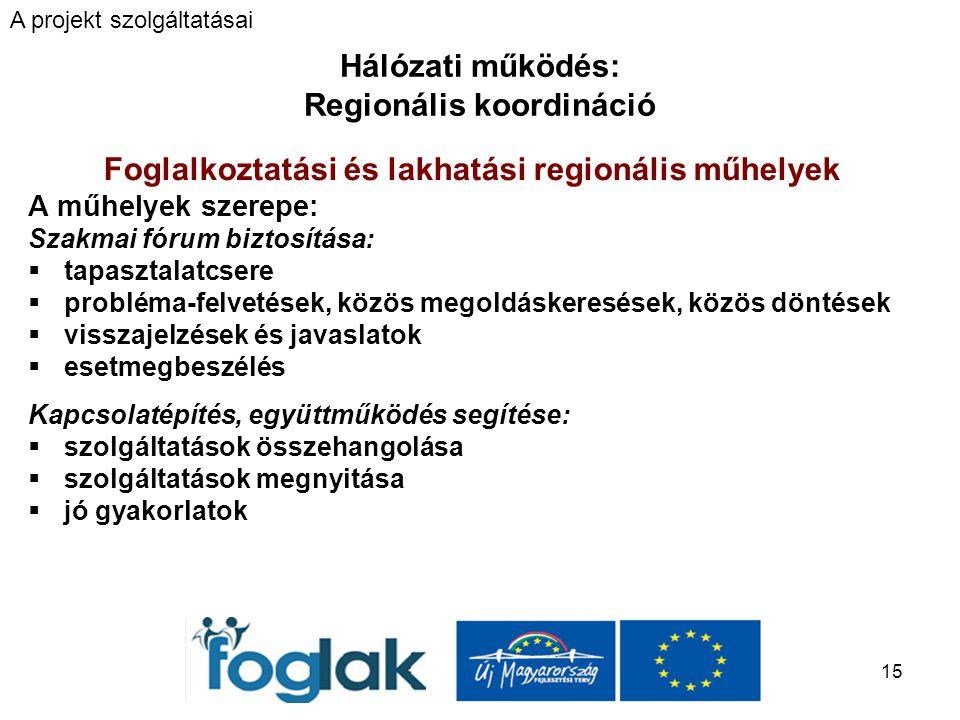 15 Hálózati működés: Regionális koordináció Foglalkoztatási és lakhatási regionális műhelyek A műhelyek szerepe: Szakmai fórum biztosítása:  tapasztalatcsere  probléma-felvetések, közös megoldáskeresések, közös döntések  visszajelzések és javaslatok  esetmegbeszélés Kapcsolatépítés, együttműködés segítése:  szolgáltatások összehangolása  szolgáltatások megnyitása  jó gyakorlatok A projekt szolgáltatásai