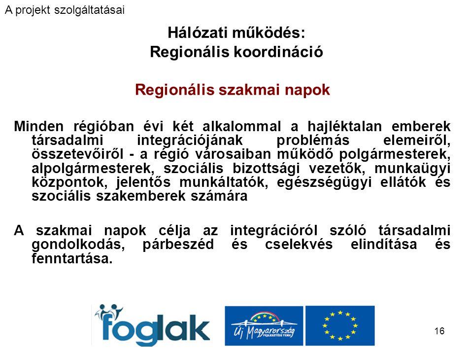 16 Hálózati működés: Regionális koordináció Regionális szakmai napok Minden régióban évi két alkalommal a hajléktalan emberek társadalmi integrációjának problémás elemeiről, összetevőiről - a régió városaiban működő polgármesterek, alpolgármesterek, szociális bizottsági vezetők, munkaügyi központok, jelentős munkáltatók, egészségügyi ellátók és szociális szakemberek számára A szakmai napok célja az integrációról szóló társadalmi gondolkodás, párbeszéd és cselekvés elindítása és fenntartása.