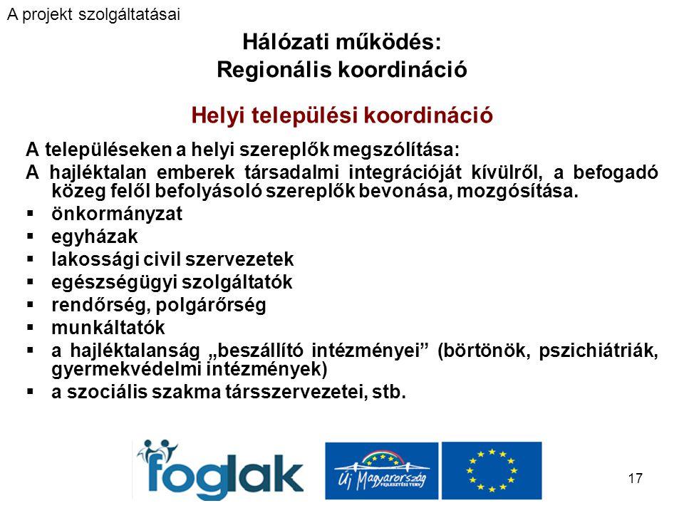 17 Hálózati működés: Regionális koordináció Helyi települési koordináció A településeken a helyi szereplők megszólítása: A hajléktalan emberek társadalmi integrációját kívülről, a befogadó közeg felől befolyásoló szereplők bevonása, mozgósítása.