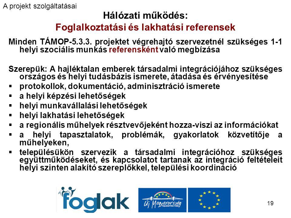 19 Hálózati működés: Foglalkoztatási és lakhatási referensek Minden TÁMOP-5.3.3.