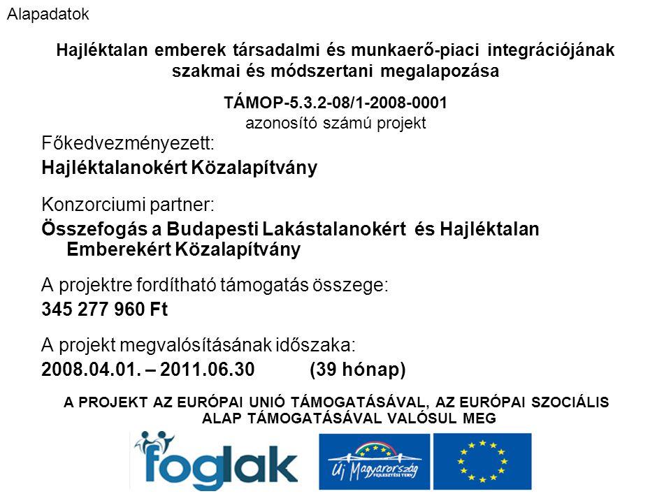 Főkedvezményezett: Hajléktalanokért Közalapítvány Konzorciumi partner: Összefogás a Budapesti Lakástalanokért és Hajléktalan Emberekért Közalapítvány A projektre fordítható támogatás összege: 345 277 960 Ft A projekt megvalósításának időszaka: 2008.04.01.