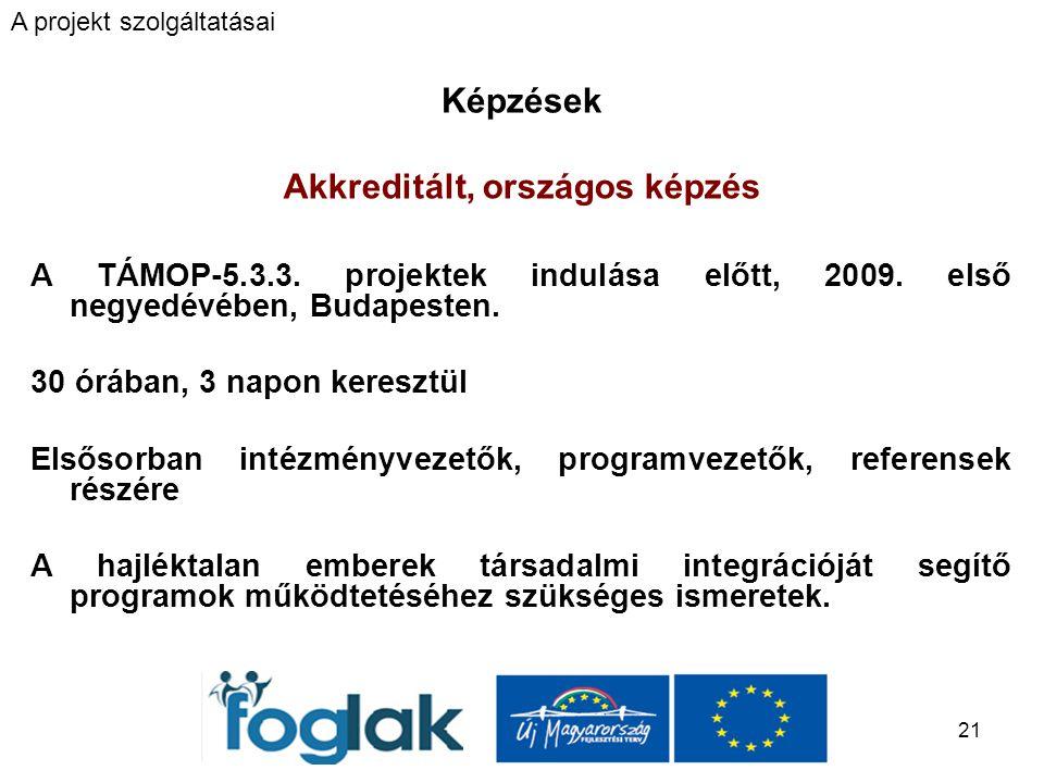 21 Képzések Akkreditált, országos képzés A TÁMOP-5.3.3.