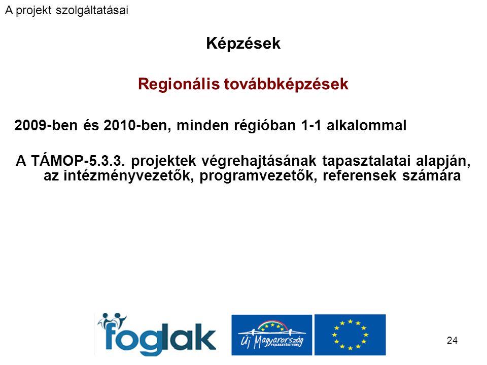 24 Képzések Regionális továbbképzések 2009-ben és 2010-ben, minden régióban 1-1 alkalommal A TÁMOP-5.3.3.