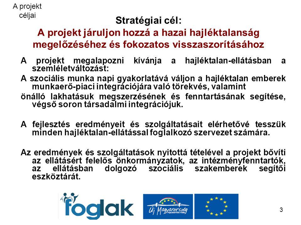 3 Stratégiai cél: A projekt járuljon hozzá a hazai hajléktalanság megelőzéséhez és fokozatos visszaszorításához A projekt megalapozni kívánja a hajléktalan-ellátásban a szemléletváltozást: A szociális munka napi gyakorlatává váljon a hajléktalan emberek munkaerő-piaci integrációjára való törekvés, valamint önálló lakhatásuk megszerzésének és fenntartásának segítése, végső soron társadalmi integrációjuk.