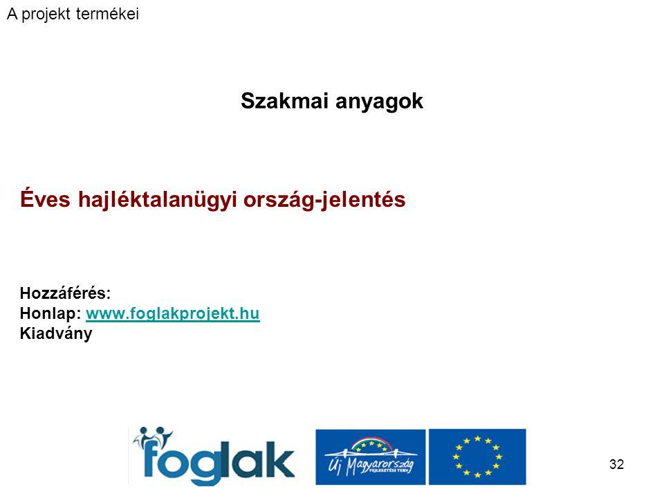 32 Szakmai anyagok Éves hajléktalanügyi ország-jelentés Hozzáférés: Honlap: www.foglakprojekt.huwww.foglakprojekt.hu Kiadvány A projekt termékei