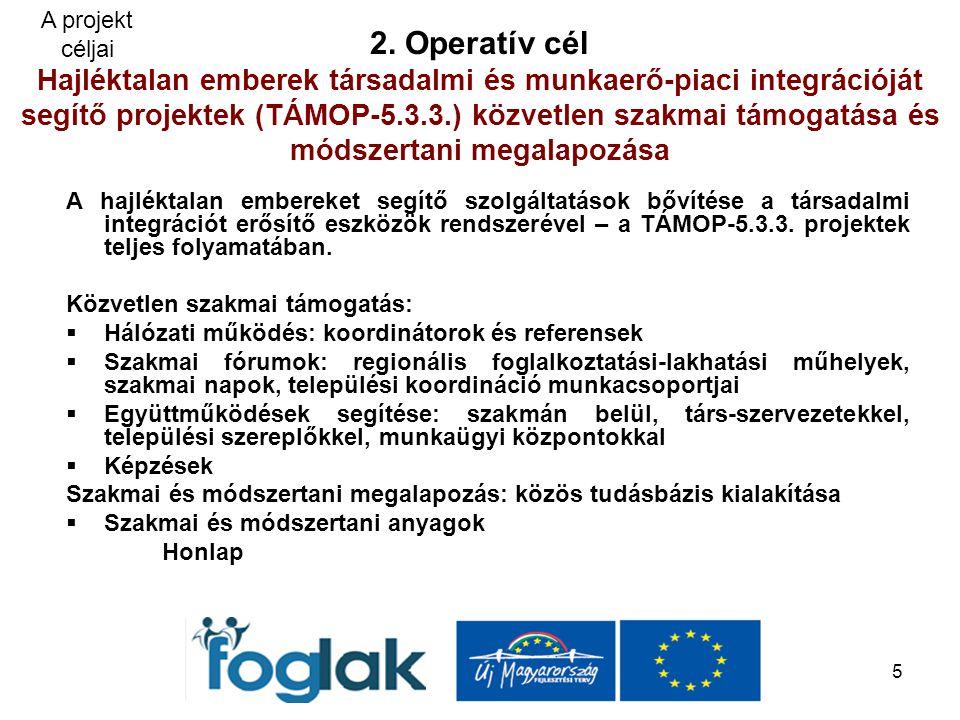 5 2. Operatív cél Hajléktalan emberek társadalmi és munkaerő-piaci integrációját segítő projektek (TÁMOP-5.3.3.) közvetlen szakmai támogatása és módsz