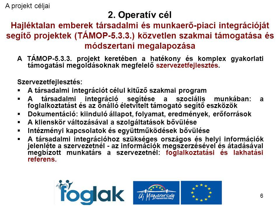 6 2. Operatív cél Hajléktalan emberek társadalmi és munkaerő-piaci integrációját segítő projektek (TÁMOP-5.3.3.) közvetlen szakmai támogatása és módsz