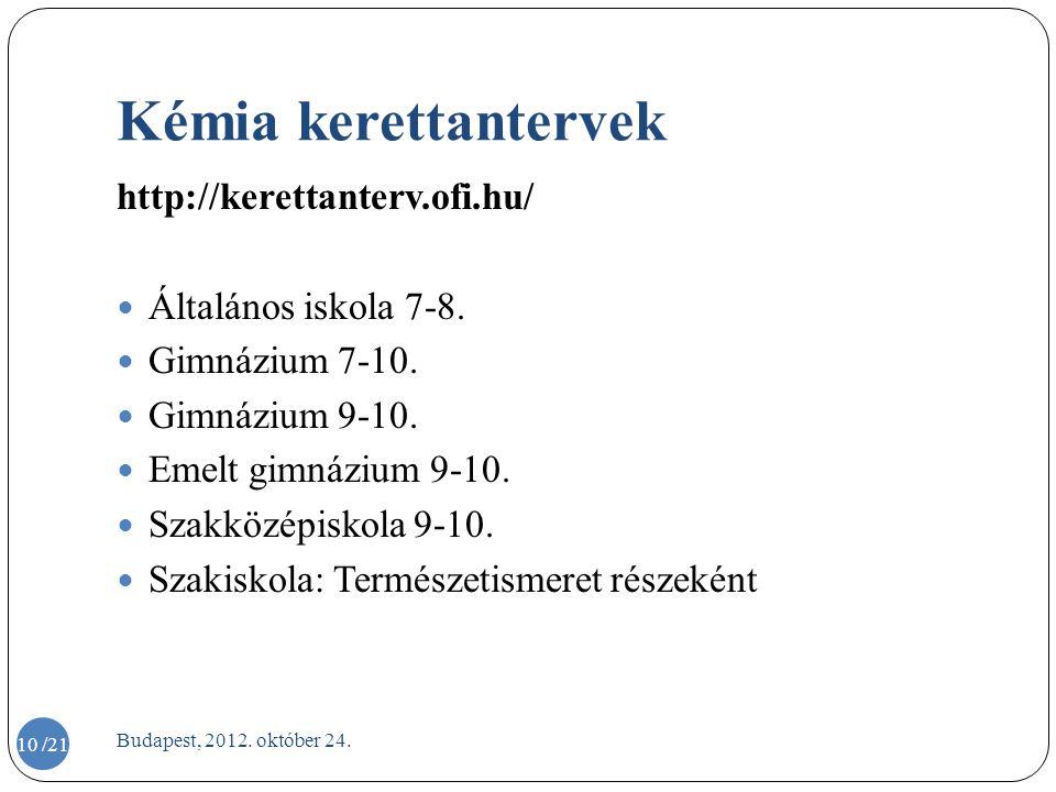 Kémia kerettantervek http://kerettanterv.ofi.hu/  Általános iskola 7-8.  Gimnázium 7-10.  Gimnázium 9-10.  Emelt gimnázium 9-10.  Szakközépiskola