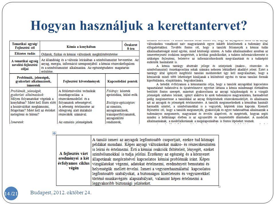 Hogyan használjuk a kerettantervet? Budapest, 2012. október 24. 14 /21