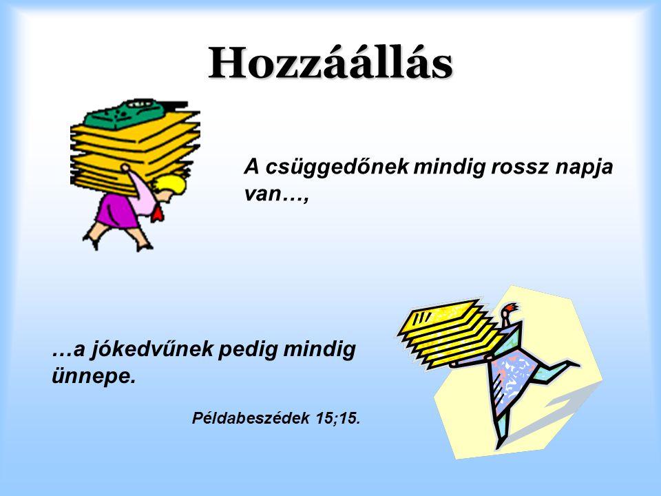 Hozzáállás A csüggedőnek mindig rossz napja van…, …a jókedvűnek pedig mindig ünnepe. Példabeszédek 15;15.
