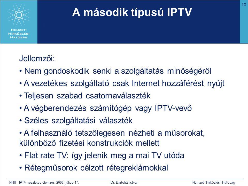10 NHIT IPTV részletes elemzés 2006. július 17. Dr. Bartolits István Nemzeti Hírközlési Hatóság A második típusú IPTV • Bár nem tudja mi az, de mivel