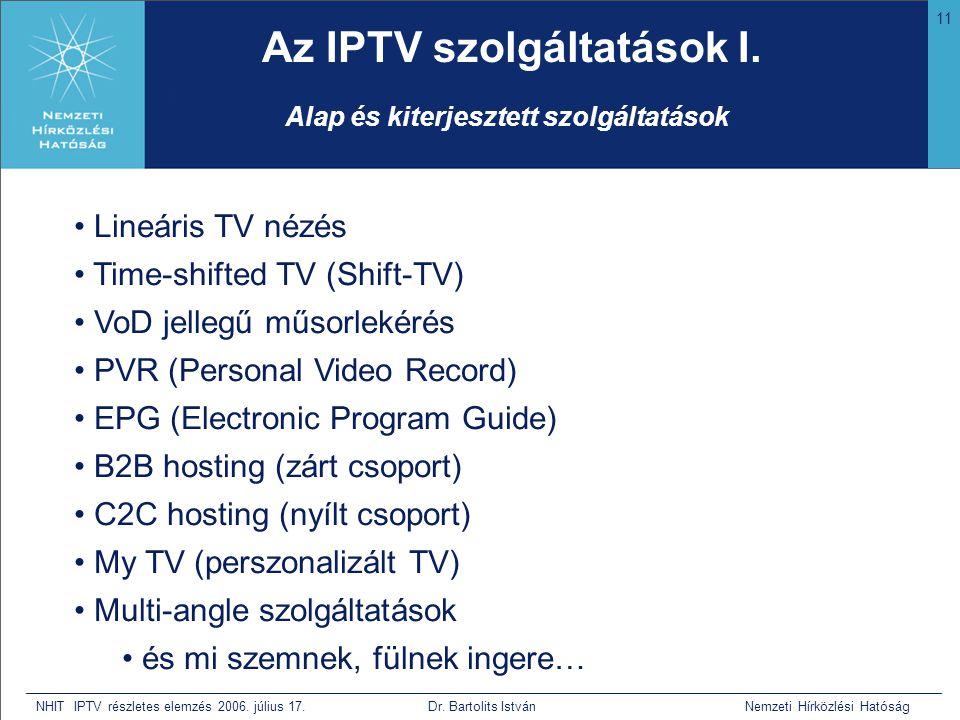 11 NHIT IPTV részletes elemzés 2006. július 17. Dr. Bartolits István Nemzeti Hírközlési Hatóság Az IPTV szolgáltatások I. • Lineáris TV nézés • Time-s