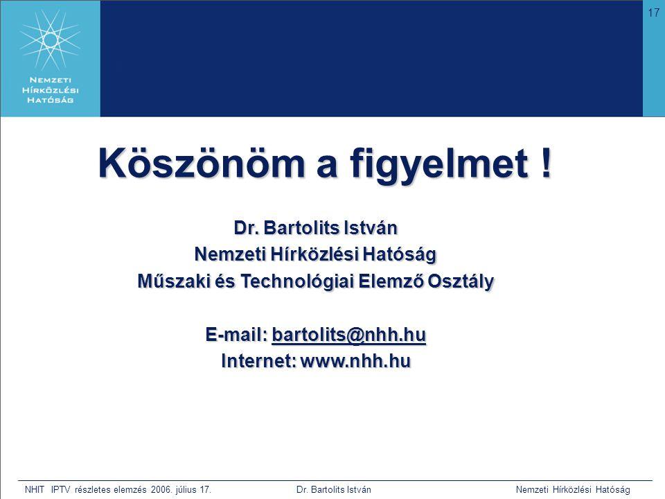 17 NHIT IPTV részletes elemzés 2006. július 17. Dr. Bartolits István Nemzeti Hírközlési Hatóság Köszönöm a figyelmet ! Dr. Bartolits István Nemzeti Hí