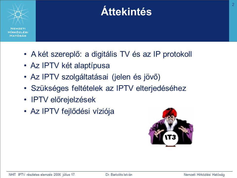 2 NHIT IPTV részletes elemzés 2006. július 17. Dr. Bartolits István Nemzeti Hírközlési Hatóság • A két szereplő: a digitális TV és az IP protokoll • A